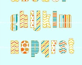 Digital Clipart Alphabet A-Z_001letters Set, printables, patterns, invitation, cards, scrapbook, orange, chevron [Alphabet_A-Z_001letters]