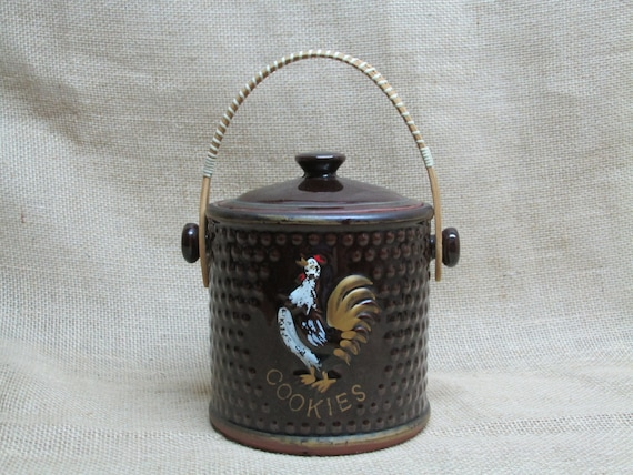 Items similar to 1930s vintage cookie jar rooster wicker handle ceramic brown hobnail texture on - Ceramic rooster cookie jar ...
