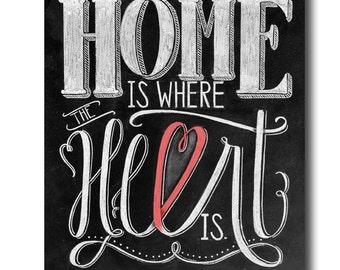 Home Is Where The Heart Is Home Decor Wedding Decor Chalkboard Art Chalk Art Print Chalk Typography Hand Drawn Chalkboard Sign