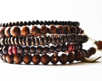 African Nubian Bracelet Handmade in Australia. Men's Streetwear OKSINC Natural Earth tones, Wooden beaded handmade boho bracelet. Brown Red
