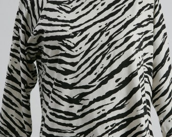 1980s Zebra Print Top, Animal Print Top, Vintage Top, 1980s Top, Zebra Print Top