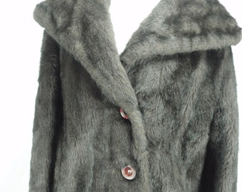 1950s/1960s Vintage Faux Fur Brown/Black Coat, Vintage Coat, Faux Fur Coat, Faux Fur Coat, Vintage Fur Coat, Brown/Black Faux Fur Coat,