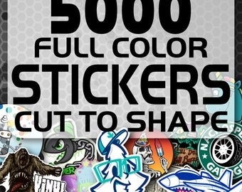 5000 Custom Vinyl Stickers - Promotional Stickers - Choose your shape - Laminated Stickers - Not Paper Stickers