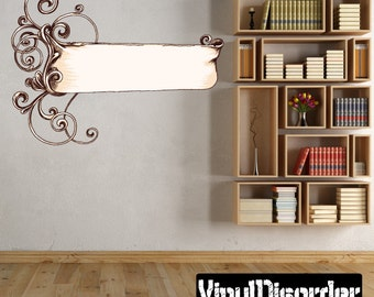 Ornate Scroll Wall Decal - Wall Fabric - Vinyl Decal - Removable and Reusable - ScrollOrnateUScolor005ET