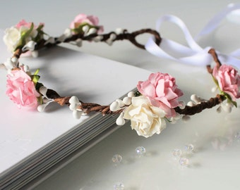 Pale Pink and White Rose Floral Crown Halo Flower Girl Bridesmaid Garland
