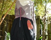 Upcycled Dress. Reclaimed materials. Size Medium / Large. Ready to ship.