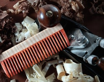 Hair Comb Wood - Paduak Curly Maple Fine Tooth Handmade Best Beard Comb Eco Friendly Gift for Him / Her Natural Pocket Static Free Long Hair