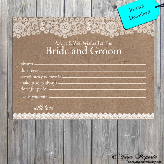 Lace Rustic Bride And Groom Well Wishes INSTANT DOWNLOAD