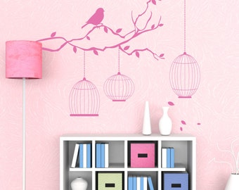 Birds and Bird Cages Vinyl Wall Decal