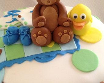 Fondant Bear Cake Topper, Teddy Bear Topper, birthday Cake, baby shower cake, Handmade Edible Bear, Bear Cake, Brown Bear Cake Topper