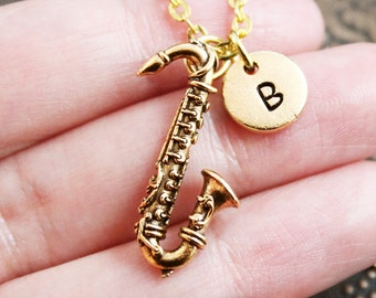 Gold Saxophone Necklace, Initial Necklace, Sax Necklace, Jazz Jewelry, Monogram Necklace, Sax Charm Necklace, Gold Necklace, Musician Gift
