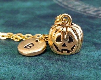 Jack O Lantern Necklace SMALL Gold Jack-o-Lantern Necklace Pumpkin Charm Necklace Pumpkin Jewelry Halloween Necklace Halloween Jewelry