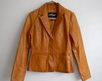 Vintage 70s Leather Jacket - Wilsons Leather Jacket - Fitted Leather Jacket - Carmel Caramel Leather Coat - Ladies Leather Jacket - Blazer