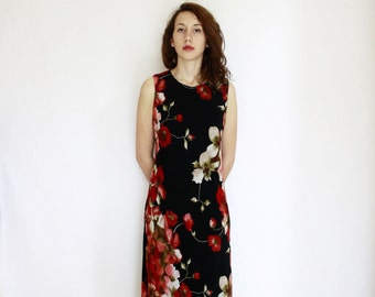 90s Black flowery midi floral dress