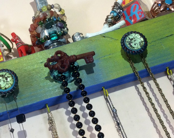 Necklace hanger recycled wood /jewelry holder wall floating storage /reclaimed wood wall hanging decor / jewellry organizer 4 hooks 5 knobs