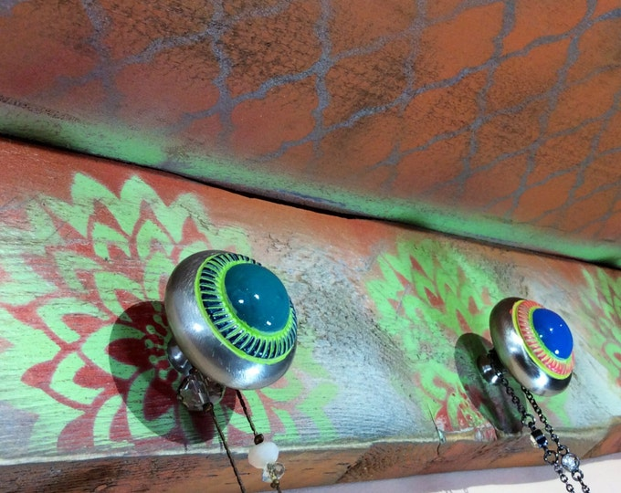 Floating shelves /pallet wood wall jewelry organizer reclaimed wood decor /hanging shelf orange stenciled lotus flowers 3 hand-painted knobs