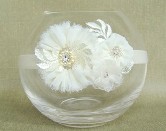 Flower girl headband Christening girl headband Wedding women headband Baby Headband White headband Handmade Headband