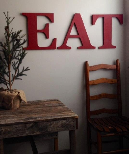 Farmhouse decor fixer upper eat letters painted 14 for Kitchen letters decoration