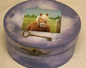 SOLD...Pony Keepsake Box with a key to her heart.  Hand painted round wood box.