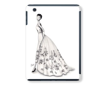 iPad case, ipad mini, ipad air, fashion illustration, fashion art, lipstick, watercolor, audrey hepburn, fashion ipad case - Timeless Audrey