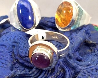 Size 8.5 Sterling Silver Ring. Baltic Amber, Purple Amethyst or Blue Lapis. Free US ship