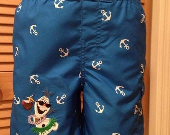 "Boys Frozen inspired Olaf ""Hula"" bathing suit"