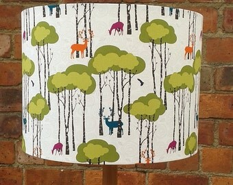Funky,Retro Deers,Trees And Birds Lampshade