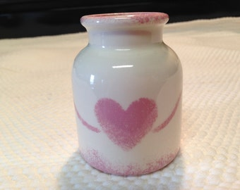 """PINK HEART CROCK 3 3/4"""" tall Glazed Creamy White Stoneware Crock with a Pastel Pink Heart Design and a Mottled Pastel Pink Lip & Heel Trim"""