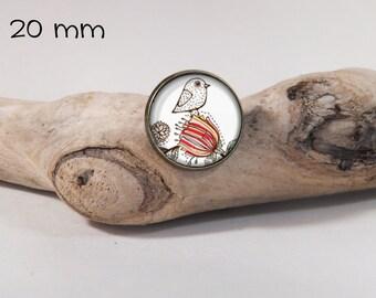 Bird pin 20 mm diam. Glass dome on pin