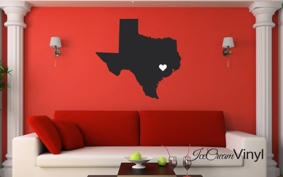 Texas State Love Wall Decal for Home Living Room Family Room Vinyl Wall Decor