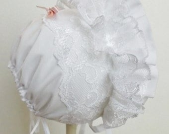 Heirloom Frilly White Lace Bonnet for Baby Girl's.