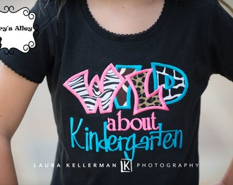 Wild about Kindergarten - Any Grade! - Girls Black Applique Shirt & Matching Hair Bow Set for Back to School