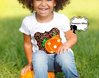 Leopard Pumpkin Box - Girls Applique Fall Shirt or Bodysuit & Matching Hair Bow Set for Halloween and Thanksgiving