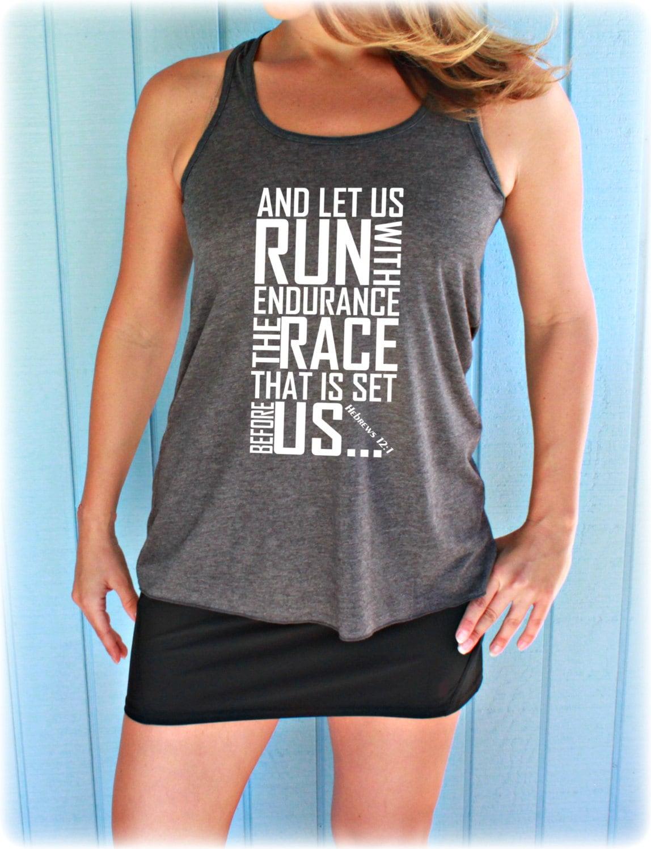 Womens flowy workout tank top keep running the race bible for Workout shirt for women