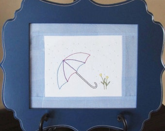 5x7in Spring hand embroidery pattern.  Perfect for those April rainy days.