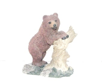 Brown Grizzly Bear Figurine and Tree Stump