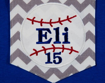 Chevron Pocket T-shirt with Appliqued Baseball, Name and Number. Perfect for Baseball Moms or Grandmothers!