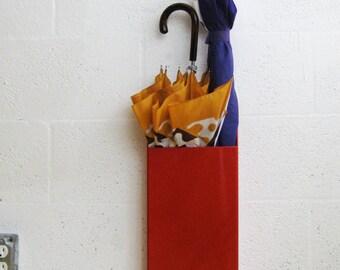 Red Wall Pocket - Umbrella holder, cane holder