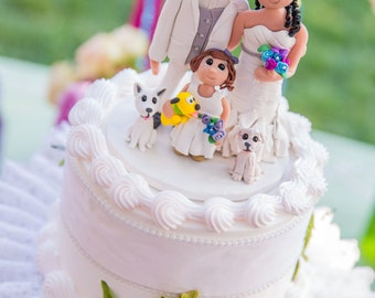 Custom Family and Animal Wedding Cake Topper