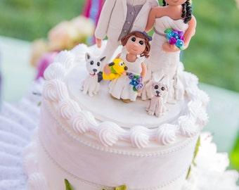 Custom Family and Animal Wedding Cake Topper