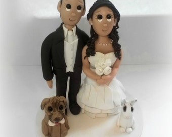 Custom Bunny and Dog Wedding Cake Topper
