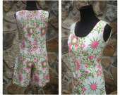 60s Floral Romper Jumper Playsuit Pink and Green White Flower Power Romper Sz M-L