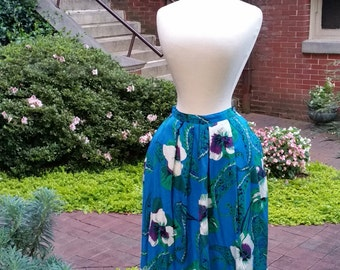 1980s Hawaiian skirt 80s 50s style floral Hawaiian blue and green skirt M/L
