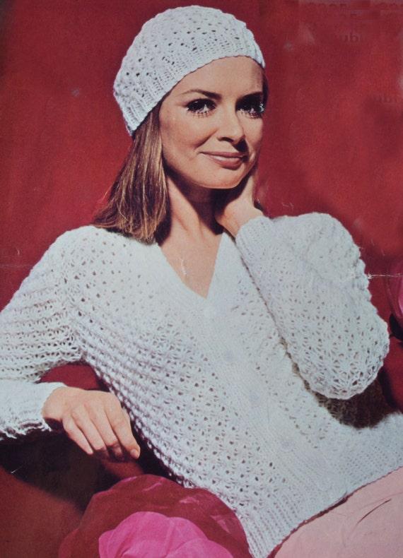 Vintage Knitting Pattern Beret : PDF openwork cardigan beret vintage knitting pattern pdf
