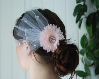 Bridal Flower Facinator with Tulle and Pearl Accents - Pink Flower Rhinestone Centre White Tulle Pink Pearl Accents Hair Clip Vintage Style