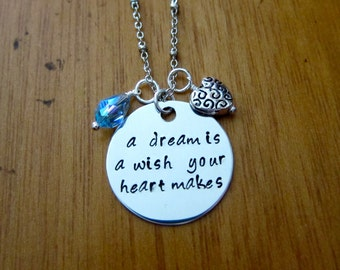 Cinderella Inspired Necklace. A Dream is a Wish Your Heart Makes. Silver colored,  Swarovski Elements crystal, for women or girls
