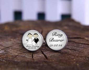 Ring Bearer Cufflinks, Custom Date Cuff Links, Custom Your Name Wedding Cufflinks, Groom Cuff Links, Gifts for Brother, Page Boy Cufflinks