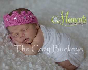 Dark Pink Newborn Crochet Princess Crown Headband with Ties & Jewels Photography Prop