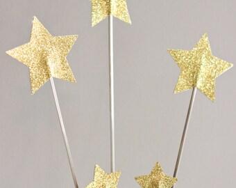 Gold Glitter Star Topper - Bday Cake Topper - Star Cake Topper - Cake Topper Set - Centerpeice - Cake Topper