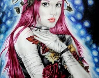 Fleurir dans l obscurite - Fantasy Art- Print 6x8